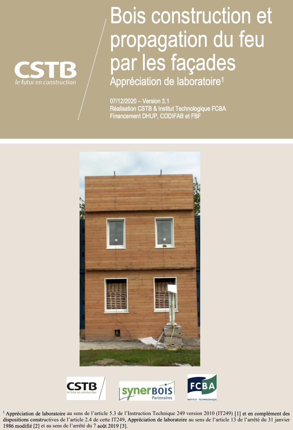 version V3 du guide du CTSB Bois construction et propagation du feu par les façades